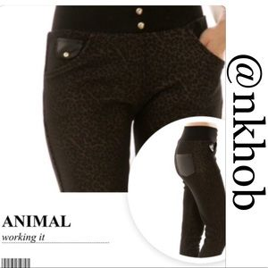 Pants - Animal Print Faux Leather Jeggings